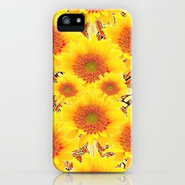 Yellow Caramel Sunflowers on Floral Patterns iPhone Case