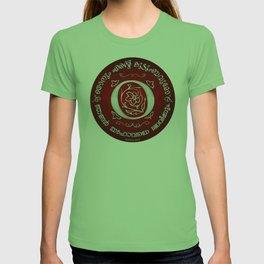 Joshua 24:15 - (Silver on Red) Monogram O T-shirt