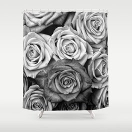 The Roses (Black and White) Shower Curtain