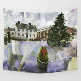 Preparations for the season, a cloudy Washington Square, Winter 1998 Wall Tapestry