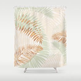 My blush and copper abstract Aloha Tropical Jungle Palm Garden Shower Curtain