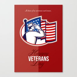 Veterans Day Modern American Soldier Card Canvas Print