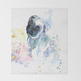 Pug Puppy in Splashy Watercolor Throw Blanket