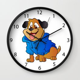 fashion dog Cartoon . Wall Clock