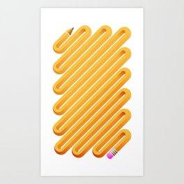 Curved Pencil Art Print