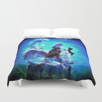 nebula Duvet Covers featuring Blue Pillars of Creation nEBULA  by 2sweet4words Designs