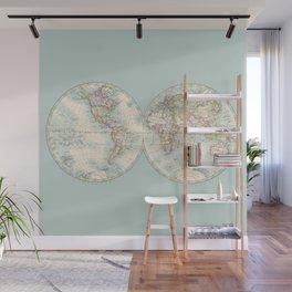 Hemispheres on Blue Wall Mural