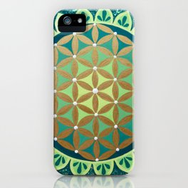 Flower of Life Mandala, Green and Gold iPhone Case