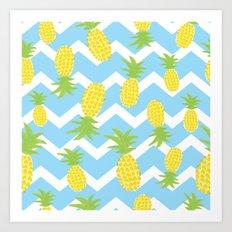Blue Pineapple Pattern Art Print