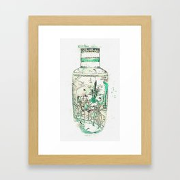A BLUE AND WHITE 'LANDSCAPE' VASE QING DYNASTY, KANGXI PERIOD watercolor by Ahmet Asar Framed Art Print