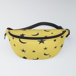 Black moon and star pattern on yellow background Fanny Pack