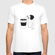 Coffee, First SMALL Mens Fitted Tee White