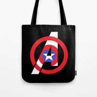 avenger Tote Bags featuring Captain Avenger by foreverwars