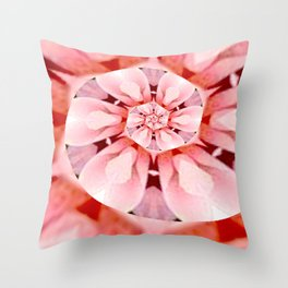 pink coral floral whirl digital art Throw Pillow