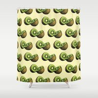 kiwi Shower Curtains featuring Kiwi by Sara Soto