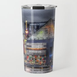 Baltimore Inner Harbor National Aquarium Skyline At Night Travel Mug