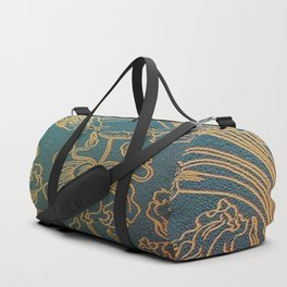 Art Nouveau,teal and gold Duffle Bag