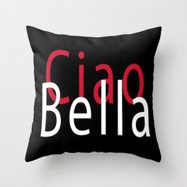 Ciao Black Throw Pillow