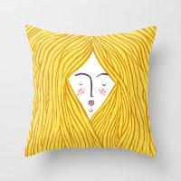blondie Throw Pillows featuring Blondie by Katie L Allen