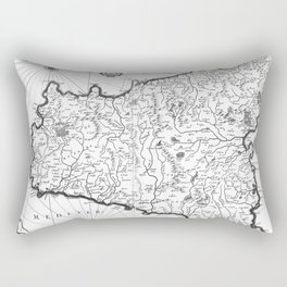 Vintage Map of Sicily Italy (1600s) BW Rectangular Pillow