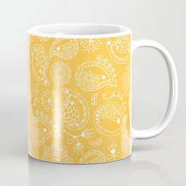 Hedgehog Paisley_Yellow Coffee Mug