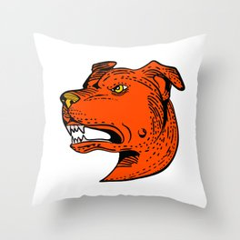 Angry American Staffordshire Bull Terrier Etching Color Throw Pillow