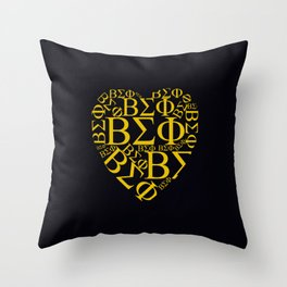 Yellow ΒΣΦ Shaped Heart on Black(BSP) Throw Pillow