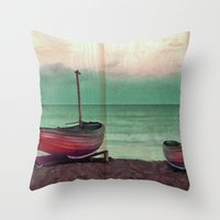 sailboat Throw Pillows featuring Sailboat by Regan's World
