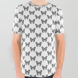 Monarch Butterfly | Vintage Butterfly | Black and White | All Over Graphic Tee