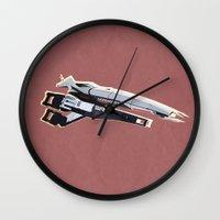 mass effect Wall Clocks featuring Mass Effect by Simon Alenius