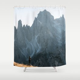 Dolomites mountain range in italy with hiker sunset - Landscape Photography Shower Curtain