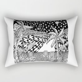 Sailboat Night at Sea - Black and White Zentangle Illustration Rectangular Pillow