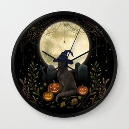 The Black Cat on Halloween Night Wall Clock