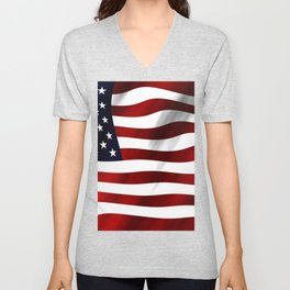 American Flag USA Unisex V-Neck