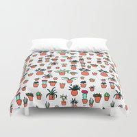 plants Duvet Covers featuring Plants by Kittymacdraws