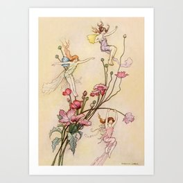 """Three Spirits Mad With Joy"" Art by Warwick Goble Art Print"