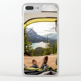 LAKE - MAN - FEET - TENT - PHOTOGRAPHY Clear iPhone Case