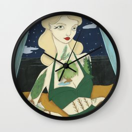 Tattooed Lady with Trees Wall Clock