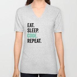 Eat Sleep Code Repeat Unisex V-Neck