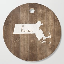 Massachusetts is Home - White on Wood Cutting Board