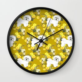 Bichon Frise on Yellow Rose Floral Autumn Gold Wall Clock