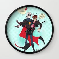 yaoi Wall Clocks featuring PruMano superheroes by Jackce