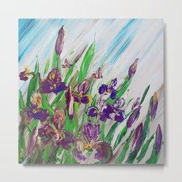 Iris Palette knife flowers painting floral art green violet blue by Ksavera Metal Print