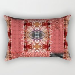 Boho Red Patchwork and Celestial Hippie Pattern Rectangular Pillow