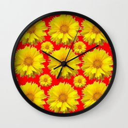 "YELLOW COREOPSIS ""TICK SEED"" FLOWERS RED PATTERN Wall Clock"