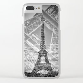 Eiffel Tower Double Exposure II | Monochrome Clear iPhone Case