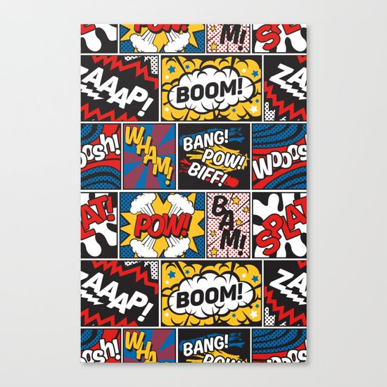 Modern Comic Book Superhero Pattern Color Colour Cartoon Lichtenstein Pop Art Canvas Print