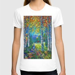 Nocturne Blue with Aspen and Birch Trees T-shirt