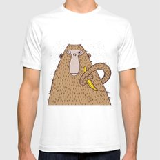 Monkey with banana. White Mens Fitted Tee SMALL