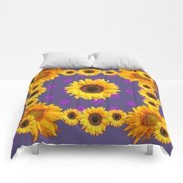 Ornamental  Puce Purple Golden Sunflowers Pattern Comforters